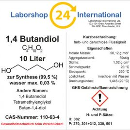 Etikett 1,4 Butandiol german brust 10 Liter