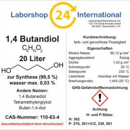 Etikett 1,4 Butandiol german brust 20 Liter