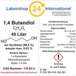 Etikett 1,4 Butandiol german brust 40 Liter